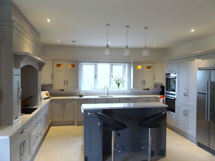 Grey painted Stepped Shaker Kitchen by Newhaven Kitchens,Carlow  www.newhavenkitchens.ie
