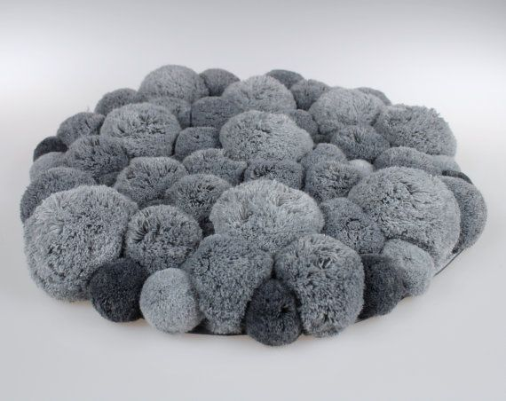 Fluffy Pom Pom Rug Round Mat Grey Pompom by PomPomMyWorld More
