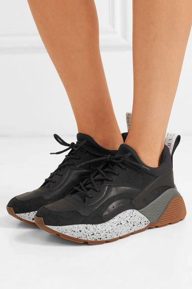 fad1b07480b6 Stella McCartney | Eclypse logo-woven faux leather, suede and neoprene  sneakers | NET-A-PORTER.COM