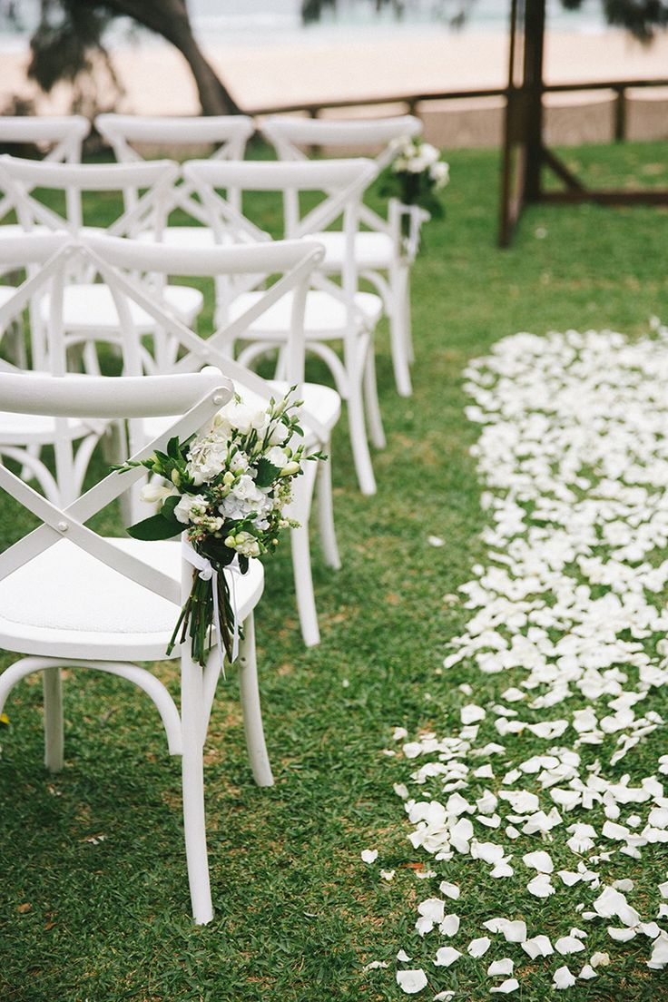 Wedding ceremony chair - A Stylish Beach Wedding In Navy Pink And White