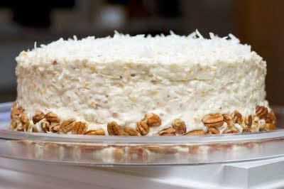 Fresh Orange, Coconut & Pecan Cake -- I NEED to make this for my husband's birthday! His top two dessert flavors are orange and coconut.