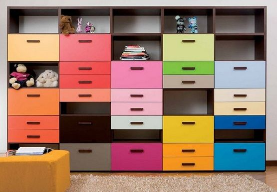 Bedroom storage with colour for kid bedroom