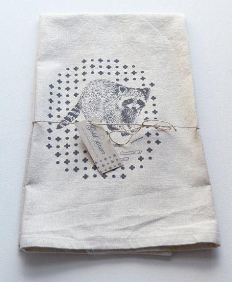 Raccoon screen printed cotton and linen blend tea towel  http://www.etsy.com/listing/170705647/raccoon-screen-printed-cotton-and-linen?ref=shop_home_active_16