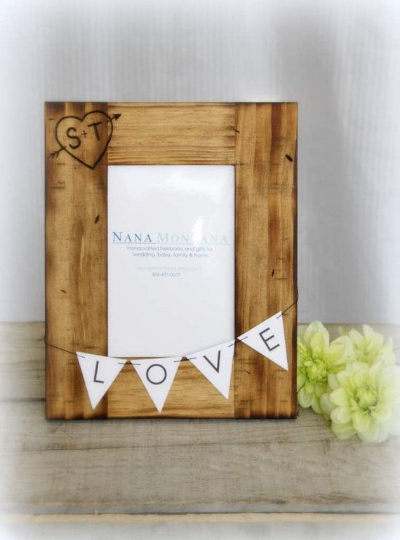 Personalized Rustic Wood Picture Frame,  Wedding, Engagement,  bridesmaid gift, anniversary, valentine on Etsy, $28.00