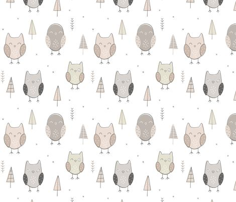 Sketchy Owls fabric by nossisel on Spoonflower - custom fabric