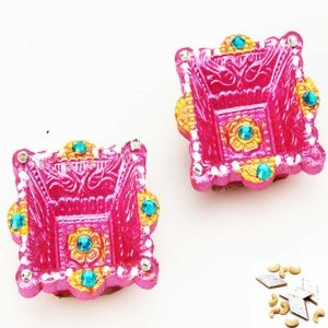 Buy set of two colorful square diya at low price from mebelkart.com