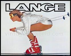 Classic Lange Ski boot poster - A la bathroom at Hickory & Tweed