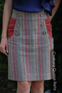 Saia Kasia, link para molde gratuito. Costura Quase Reta. Kasia skirt, link to free sewing pattern