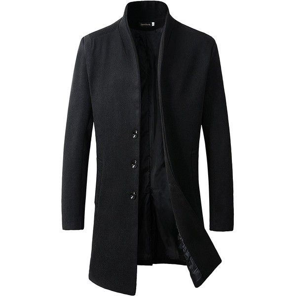 Men's Trench Coat Winter Long Jacket Button Closer Overcoat ($44) ❤ liked on Polyvore featuring men's fashion, men's clothing, men's outerwear, men's coats, mens overcoat, mens over coat, mens wool blend coat and mens coats