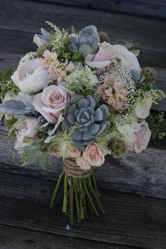 A shabby chic bridal bouquet featuring succulents, dusty pink roses ...