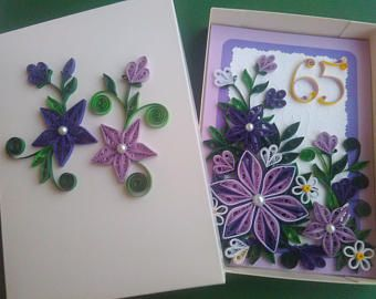 Birthday card, Quilling Birthday card with number 65th, Greeting card, Quilled purple flowers, Paper Birthday card
