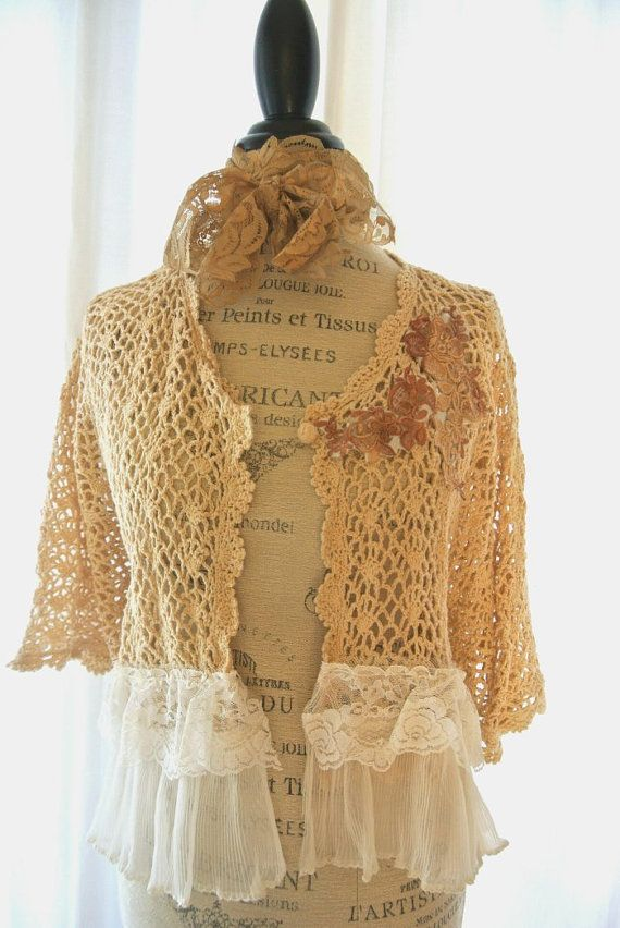 Crochet sweater, cottage fall clothing, white magnolia ruffle, country chic, womens clothing, Plus size, wrap, rustic, farmgirl