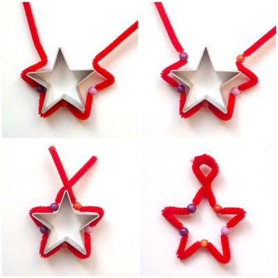 schaeresteipapier: 3x3 Sterne - mit Pfeifenputzer und Perlen