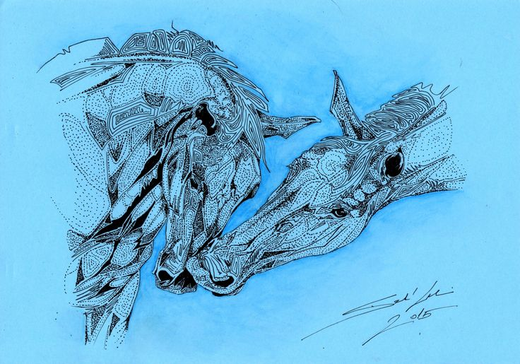 Ballpoint pen abstract horses