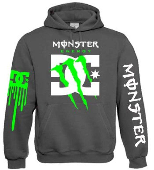 Monster Energy Dc Shoes Green Claw Hoodie (Large, Heather Grey)