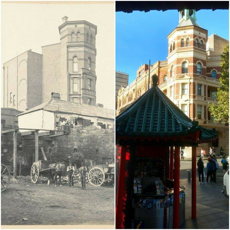 Sydney Trades Hall from Dixon St Chinatown, Haymarket c1900 > 2017. [State Library of NSW > Sandro Bell. By Sandro Bell]