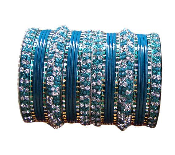 #Bangles #Indian #Designer #Bollywood #Diamante #Blue by Shoppingover