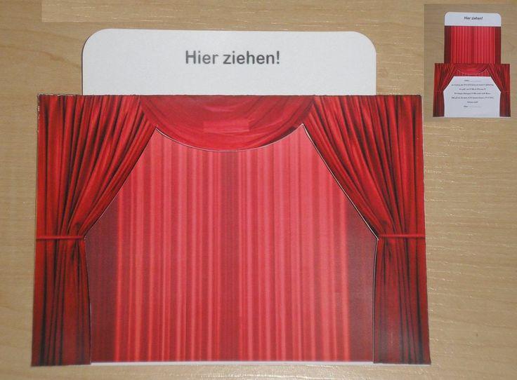 Vorhang ROT Gutscheinkarte für einen Theater Musical Kino, Papier, A6