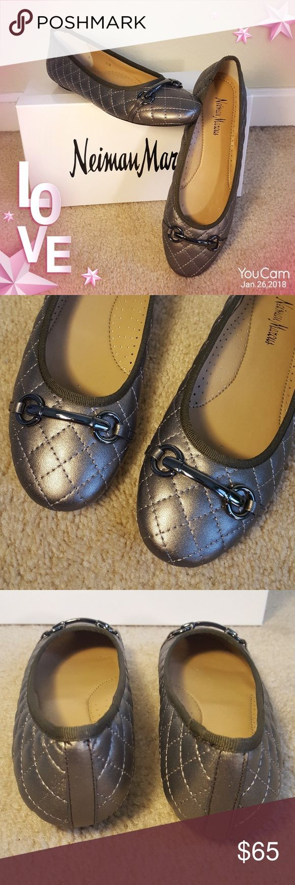 NIB! Suzy Pewter Quilted Flats Gorgeous and Comfortable!!! Size runs true! Neiman Marcus Shoes Flats & Loafers