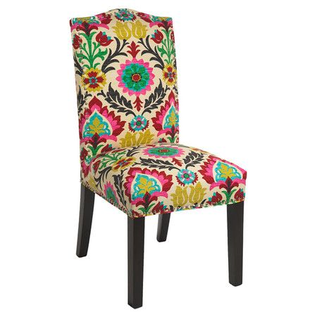 Add an eye-catching touch to your living room or master suite with this lovely side chair, showcasing nailhead trim and multicolor cotton upholstery.  ...