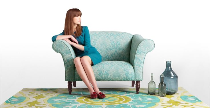 Garston Love Seat in woven blue wool | made.com