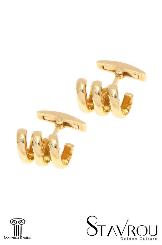 Μανικετόκουμπα, σε σχήμα σπείρας, σε χρυσό Κ14 Διαστάσεις : 18.20 x 10.20 mm #δώρα_για_τον_άνδρα #ανδρική_μόδα  #μανικετόκουμπα