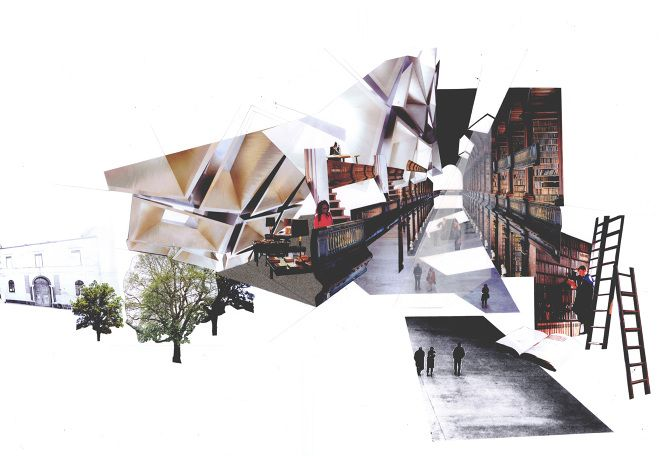 enric miralles collage - Google Search could maybe be photoshop, done in a really cool way. 3D.