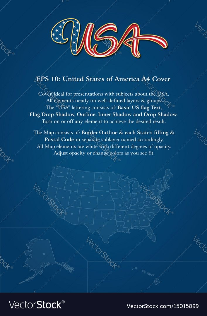 Cover mock-up consists of custom-made USA lettering, the United States map and copy space. The lettering follows the flow of a waving American flag. All elements neatly on well-defined layers. Download a Free Preview or High Quality Adobe Illustrator Ai, EPS, PDF and High Resolution JPEG versions.