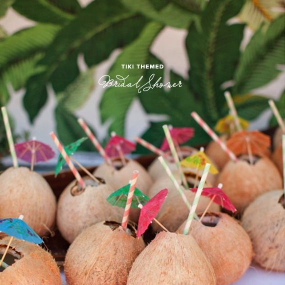 how to throw a tiki-themed bridal shower {fun idea}: Layered Cakes, Coconut Drinks, Bridal Shower Drinks, Bridal Shower Ideas, Coconut Cups, Fun Ideas, Parties Ideas, Tropical Bridal Shower, Tiki Bar