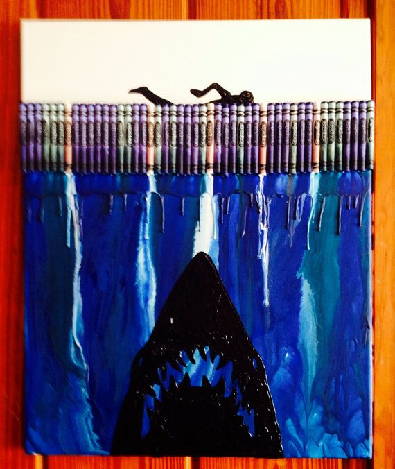 Jaws Melted Crayon Art Painting by OnceUponACrayon on Etsy, $35.00
