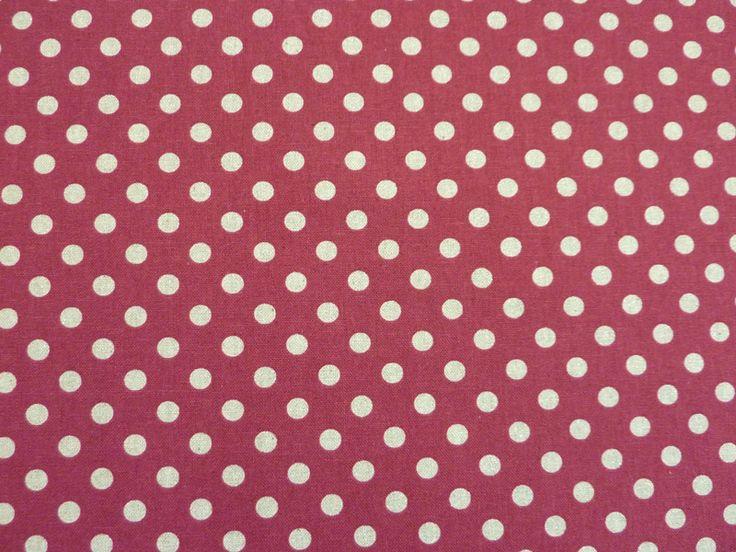 Stoff Punkte - Baumwolle-Leinen, Punkte auf weinrot - ein Designerstück von Jules-Stoffkiste bei DaWanda