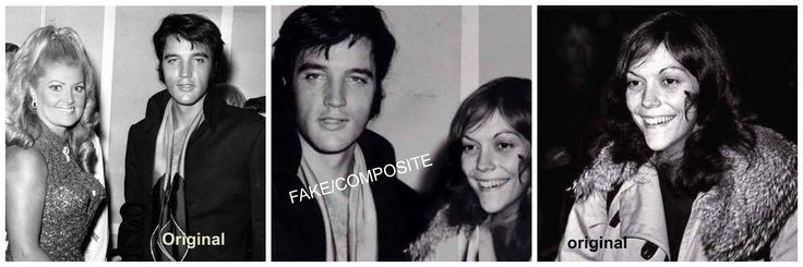 """PHOTOSHOP! FAKE! (Center) The Elvis picture is from his his press conference at the International Hotel in Las Vegas, NV on August 1, 1969 and was taken after his opening concert there. It has been flipped as well as having Karen Carpenter photoshopped into it! (Thnx to """"Elvis Presley - Fake Photoshopped Photos"""" on facebook for debunking this FAKE.)  Left: the ORIGINAL photo of Elvis with Joan Adams at the Press  Conference"""