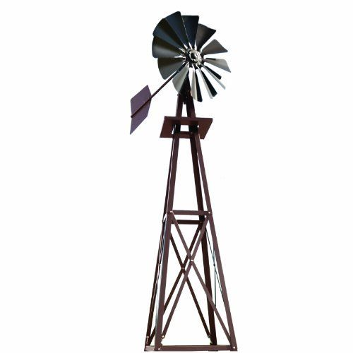 Outdoor Water Solutions 9-Foot Bronze Powder Coated Backyard Windmill by Outdoor Water Solutions. $269.00. Complete windmill assembly, three ground stakes and manual. BYW0057. Bronze windmill. 9-Feet tall. Make your yard unique. Ornamental windmill that is perfect for any setting.  The tower with head stands 9-foot tall and makes a dramatic statement.  To convert kit to aerate smaller backyard and landscape feature ponds add on a Backyard Aeration Conversion Kit.