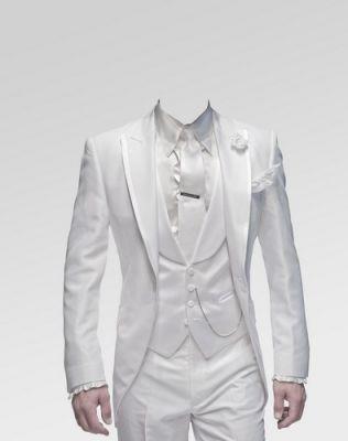 Фотошаблон в белом мужском костюме