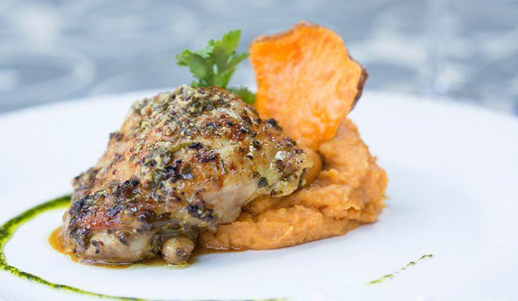 Pollo en costra de hierbas y mostaza con puré de zapallo y camote asado