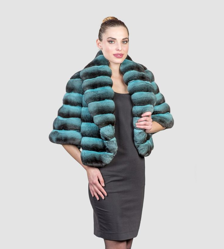 #chinchilla #real #fur #green #jacket #style #fashion #classy #clothing #top #best #dyed #pelts #pelz
