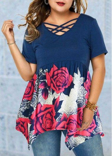 Plus Size Floral Print Hanky Hem Cutout Neck Blouse | Rosewe.com – USD $27.22