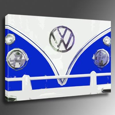 Car Volkswagen VW Camper Van Blue Art Print Canvas *