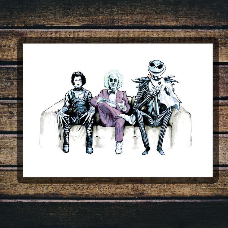 Tim Burton Cast - Beetlejuice, Ed and Jack - Gloss Print
