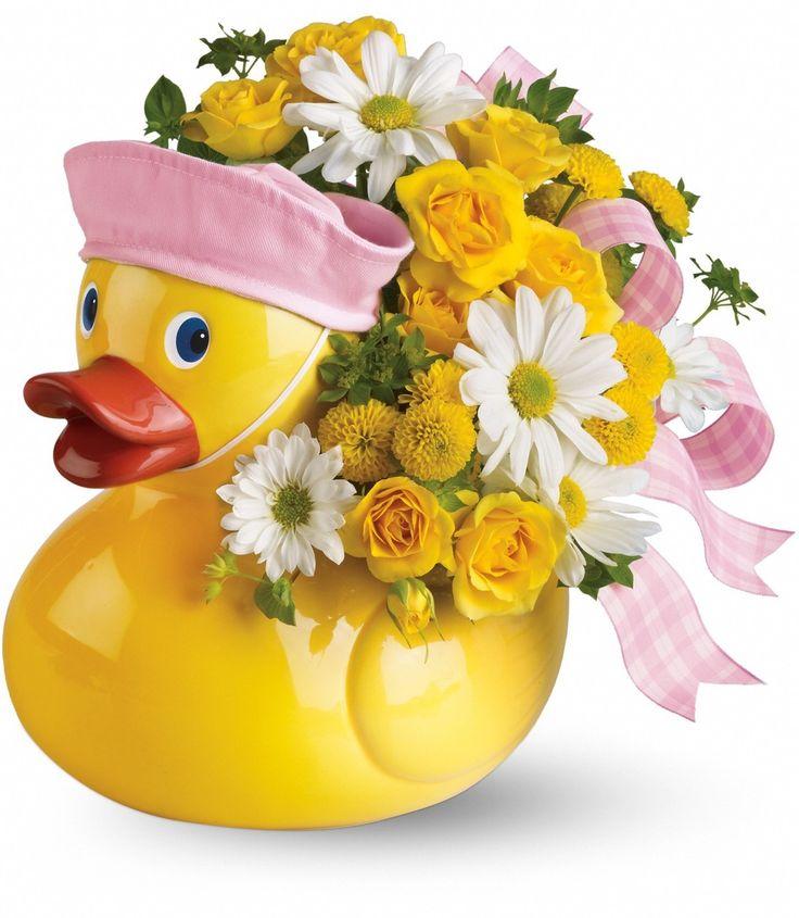 16 best new baby gift flower ideas images on pinterest flower ducky delight baby girl flowers negle Gallery
