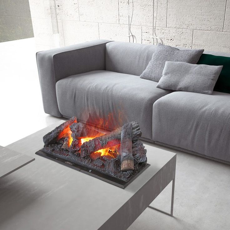 MAISON FIRE Cassette is a modular recessed fireplace featuring an electric water-based motor