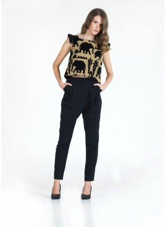 Felicia cropped brocade top with elephant prints and Jodie harem pants! Want!