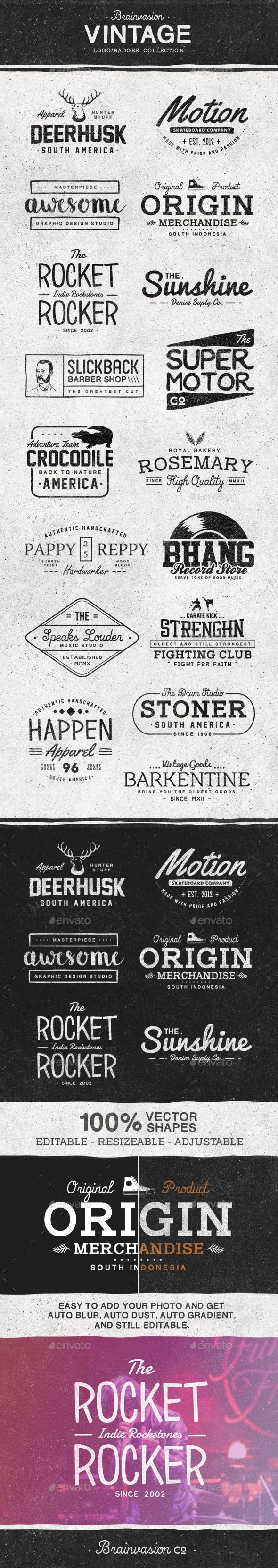 Vintage Logo/Badge Collection #badges Download: http://graphicriver.net/item/vintage-logobadge-collection/11643037?ref=ksioks