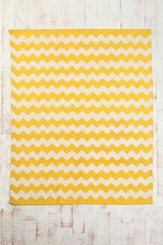 yellow chevron rug