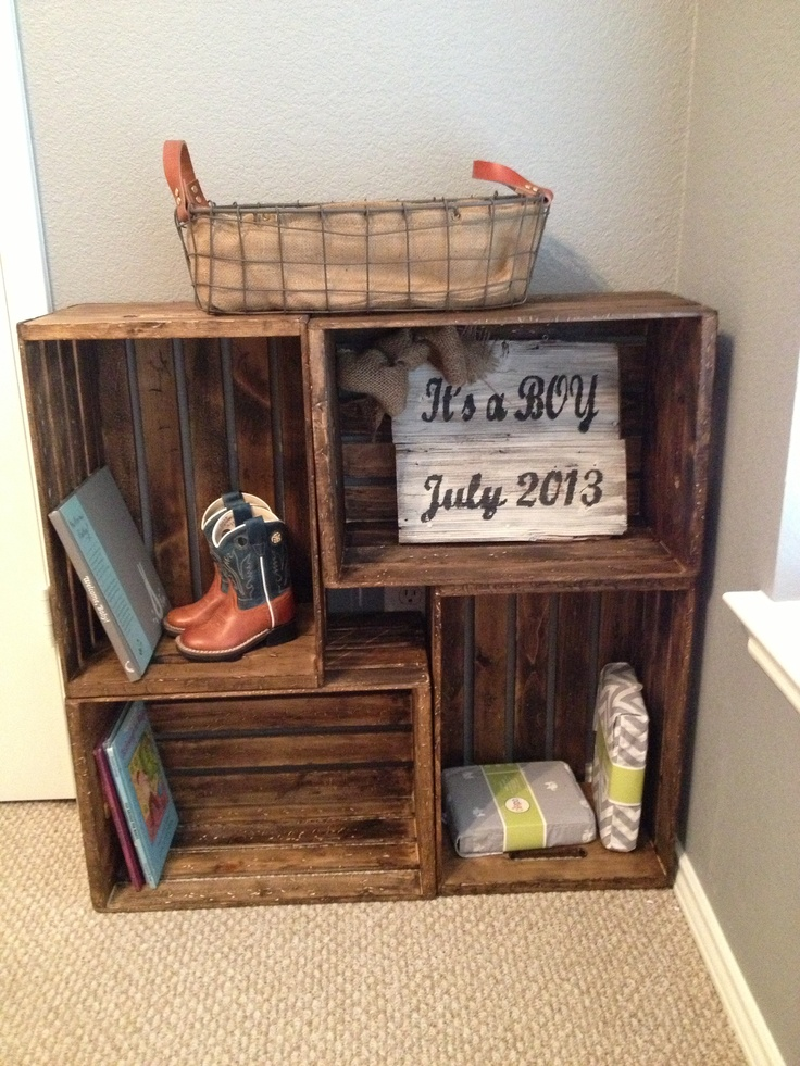 Crates bookshelf Love this! @David Donnelly this might be my next project for you!