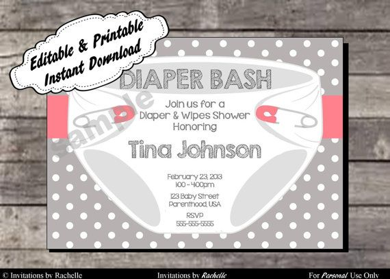Diaper Bash Party Baby Shower or Sprinkle Invitations Pink and Gray - Editable Printable Digital File with Instant Download