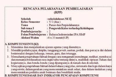 RPP K13 Kelas 5 Tema 6 Panas dan Perpindahannya