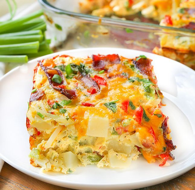 This is a sponsored post written by me on behalf of Tyson Foods, Inc. All opinions are entirely my own. Serve up a plate of cheesy potato egg bake.  This b