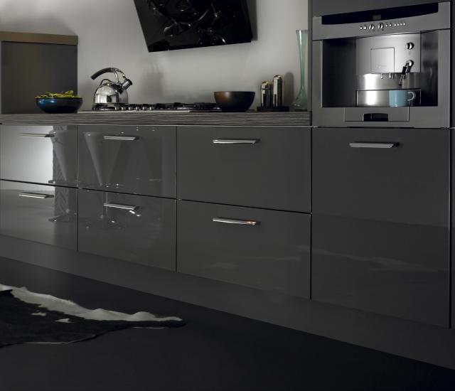Metro High Gloss Kitchen In Lava Dark Grey Kitchen And