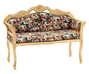Divanetto imbottito in faggio e stoffa oro - 115x85x45 cm